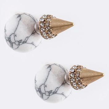 Orb & Cone Double-Sided Earrings (White)