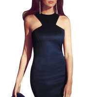 Navy Racer Front Bodycon Mid Dress