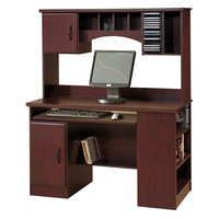 Traditional Office Computer Desk with Hutch in Cherry Wood Finish