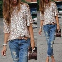 Sequined Bling Shiny Top Casual Loose Tops Off The Shoulder