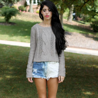 Vintage Crop Fit Taupe Mocha Cable Knit Pattern Fall Sweater.