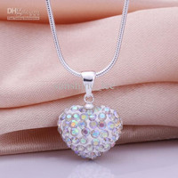 Brand New Shamballa Jewelry 925 Silver AB Clay Crystal Heart Pendant Fit 18inch Snake Chain Necklace 12pcs/lot