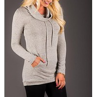 Fashion Solid color hooded sweater-3