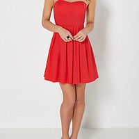 Red Pleated Tube Dress