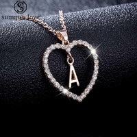 2018 Cubic Zirconia Crystal Initial 26 Letters Pendant Necklace Silver Gold Color Love Heart Necklace Choker Women Jewelry Gift