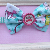 Daddy's girl whimsical kitty fabric bow headband for babies, toddlers, teens, and adults.          ~FABRIC BOW DEPOT~