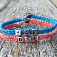 Coral and Turquoise BAE Bracelets for Couples or Best Friends, Handmade Macrame Hemp Jewelry
