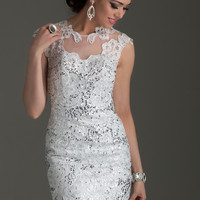 Clarisse 2477 - White Lace Open Back Short Homecoming Dresses Online