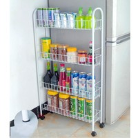 YONTREE 1 PC White 3Tiers/4 Tiers Slim Line Metal Storage Cart Folding Kitchen/Laundry Room Rolling Organizer H9147