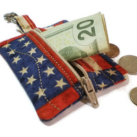 Patriotic zipper pouch, Fourth of July pouch, zipper coin purse, flag change purse, flag backpack tag, lip balm pouch, handmade pouch