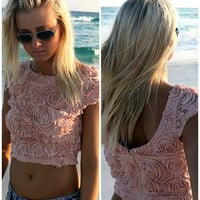 Rosemary Beach Short Sleeve Rose Pink Crop Top