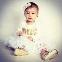 One Outfit with baby moccasin shoes White Easter Fluffy tutu long sleeve gold  glitter one Onesuit- Pettiskirt girls 1st Birthday outfit Christmas- girls first birthday outfit