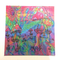 Psychedelic Blotter Art Print perforated sheet 15x15 - Mushroom Design