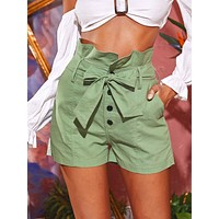 Solid Paperbag Waist Belted Shorts