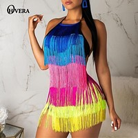 Ohvera Cascading Multi Tassel Playsuit Women Casual Rompers Womens Sexy Jumpsuit For Women 2019 Summer Overalls