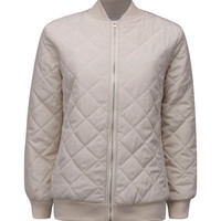 Beige Quilted Long Sleeve Padded Bomber Jacket
