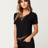SKY AND SPARROW Grommet Lace Up Womens Top | Knit Tops + Tees