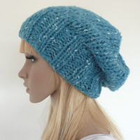 Hand knit slouch hat - turquoise slouch beret - slouch beanie