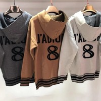 Dior Autumn Winter Trending Women Stylish Jacquard Long Sleeve Hooded Sweater Top Sweatshirt