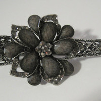 Large Refashioned Smokey Grey Flower Alligator Clip Hair Accessories Clips for Hair Prom Homecoming with Smokey Grey Rhinestones
