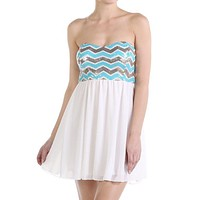 Chevron Sequins Dress - White
