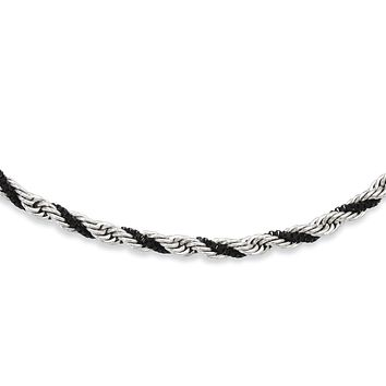 Stainless Steel Black IP-plated Box & Rope Twisted 20in Necklace SRN951