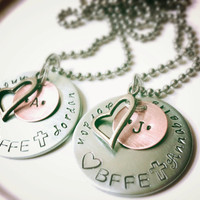 FREE SHIP Easter Sale! Best Friends BFF Necklace or Keychain Set of 2