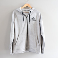 Adidas Zip up Hoodie Light Grey Hooded Sweatshirt Big Logo Fleece Lining Hoodie Grunge Jacket Hipster Minimalist Unisex 90s Vintage Size L