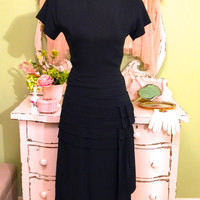 1930s 40s Tailored Dress, Black Fitted Crepe, WWII Era Dress, Pleats/ Hip Side Sash, Structured Dress, Vintage Dresses,  Womens Size Small