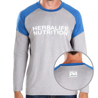 Large MEN'S Herbalife Nutrition REVIVE L/S Heather Grey and Navy