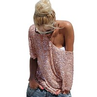 Women Sexy Loose Off Shoulder Sequin Glitter Blouses Vintage Streetwear Party Tops