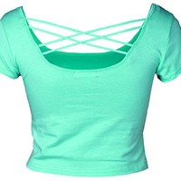 Absolute Clothing Women's Fashion Short Sleeves Scoop Crop Top with Criss Cross Back