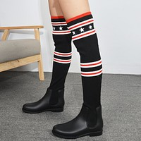 Givenchy Women Autumn And Winter Fashion New Star Stripe Knit Long Boots Shoes Black