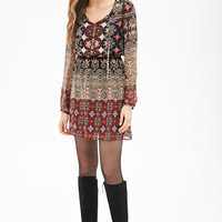 Tribal Print Chiffon Dress