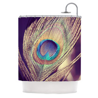 """Nastasia Cook """"Proud as a Peacock"""" Brown Feather Shower Curtain"""