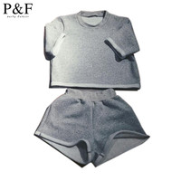 2016 casual Two pieces Outfits Sleeveless Bodycon Sexy Grey Short Jumpsuit Women Body Suit Crop Top and Short Pants Playsuits