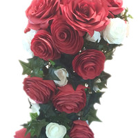 Cascading bouquet in red and white paper Roses and Peonies with small white paper accent flowers and silk leaves, Made in your color choice