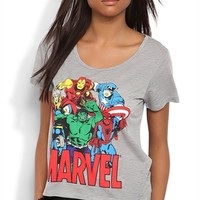 Short Sleeve Oversized Tee with Marvel Comics Screen and High Low Hem