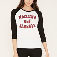 Trouble Graphic Baseball Tee