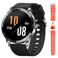 """Blackview Smart Watch for Android Phones and iOS Phones, Smart Watches for Men Women, Fitness Tracker Watch with Heart Rate Sleep Monitor, 1.3"""" Full Touch Screen, 5ATM Waterproof Pedometer(46mm) Silver"""