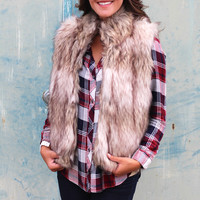 Cozy Faux Fur Vest {Taupe Mix}