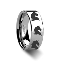 Horse Head Print Laser Engraved Flat Polished Tungsten Couple Matching Ring - 4MM - 12MM