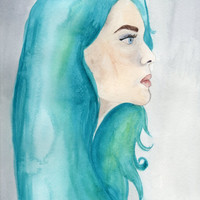 Turquoise Lady Watercolor Painting, Woman in Profile, Painting of a Girl with Blue Hair