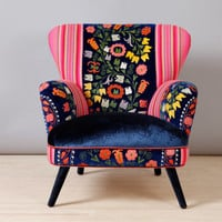 Suzani armchair - blue angel