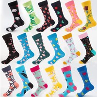 High Quality Mens Combed Cotton Socks Men's Casual Happy Fancy Socks Yellow Rabbit Funny Cool Crew Socks Crazy Sox Teen Smile