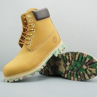 Timberland Leather Lace-Up Boot High Yellow Dark Brown Camo Sole - Best Deal Online