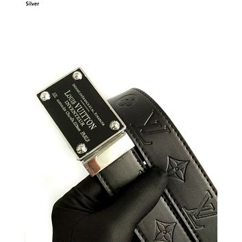 LV 2019 new embossed retro square buckle casual smooth buckle belt silver