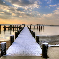 Fresh Snow On The Pier Art Print by Monte Morton Photography