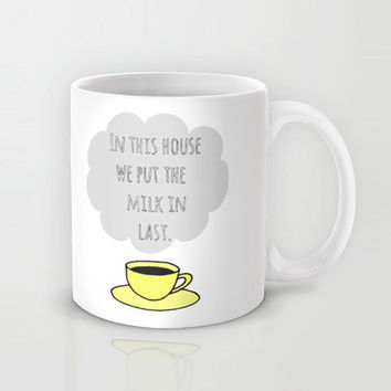 Unique coffee mug, yellow teacup and hand lettered typography, funny coffee mug, yellow and grey cup, gift for coffee lover, tea lover.
