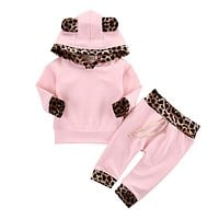 Coat Top Hoodies Pants 2pcs Girl Clothing Outfits Set Newborn Toddler Baby Girls Clothes Set Hoodie Cotton